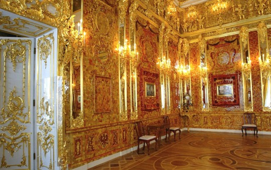 A general view of the Amber Room just before its opening after a complete restoration